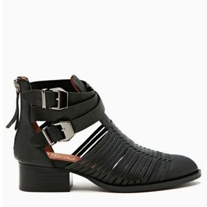 Jeffrey Campbell Stinson Black Caged Booties